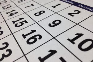 kalendarz z dniami tygodnia